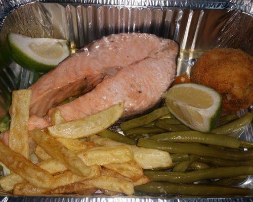 Pavé de saumon et haricots verts